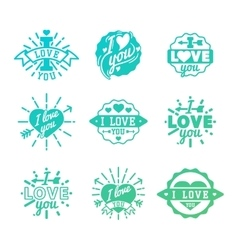 I love You logo badges vector image
