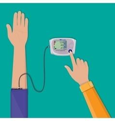 Man checks high blood pressure on monometer vector