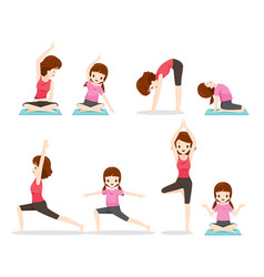 mother and daughter doing yoga exercise vector image vector image