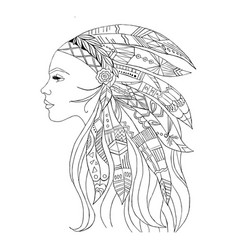 Native american indian girl in top headgear vector