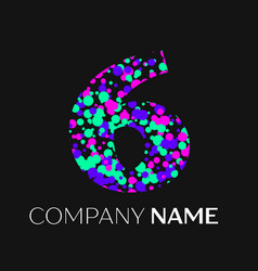 Number six logo with pink purple green particles vector