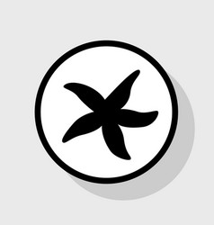 Sea star sign flat black icon in white vector