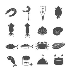 seafood icons set vector image vector image