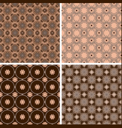 Set of seamless patterns in trendy mono line style vector
