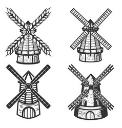 Set of the windmills icons on white background vector