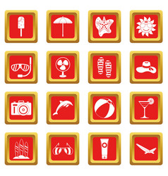 Summer rest icons set red vector