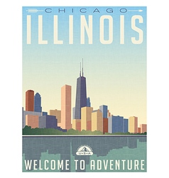 Vintage travel poster chicago skyline vector image vector image