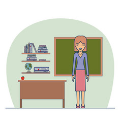 woman teacher on classroom with wooden shelf with vector image vector image