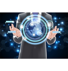 World technology communication concept globe vector image