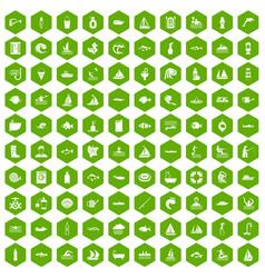 100 water icons hexagon green vector