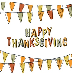 Happy thanksgiving postcard holiday pennant vector
