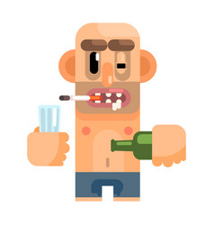 Unshaved alcoholic with rotten teeth revolting vector