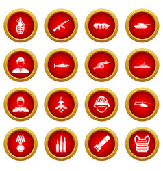 War icon red circle set vector