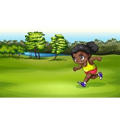 A black girl jogging vector image