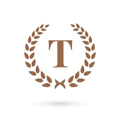Letter t laurel wreath logo icon design template vector