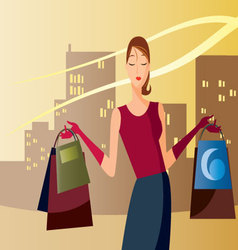 Shopping-in-the-afternoon vector