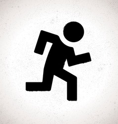 Black emergency exit sign with running human vector