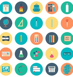 Back to school school and education icons flat vector
