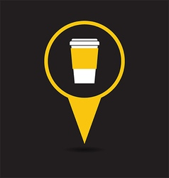 Map pointer with coffee cup icon vector