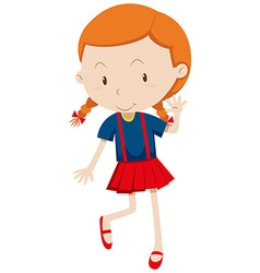 Little girl wearing red skirt vector
