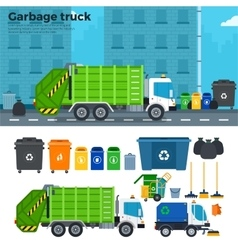 Garbage truck on the street near trash cans vector