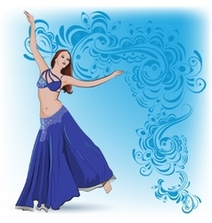 The belly dancer in blue vector image
