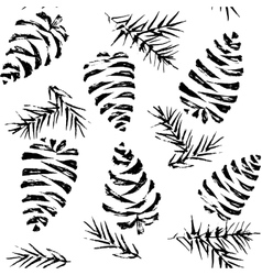Pine cones seamless pattern Christmas gift vector image