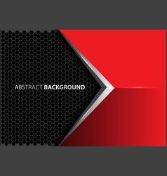 abstract metal arrow red gray hexagon mesh vector image vector image