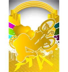 abstract summer background with bmx cyclist vector image vector image