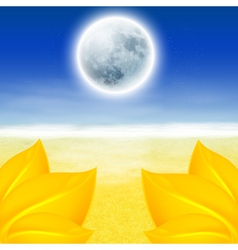 Autumn background with full moon vector image