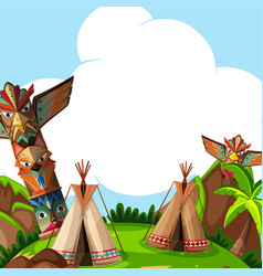 Background scene with traditional tents and totem vector