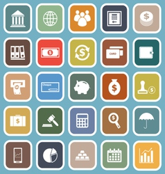 Banking flat icons on blue background vector image vector image