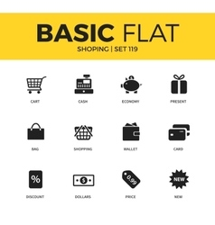 Basic set of shopping icons vector