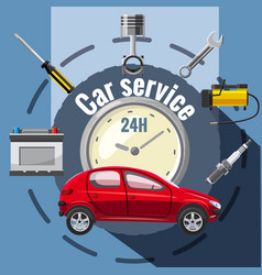 Car service tools emblem concept cartoon style vector