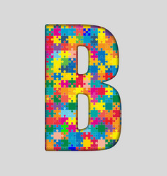 Color puzzle piece jigsaw letter - b vector