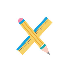 Colorful ruler and pencil school tool education vector