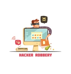 Computer security hacker retro cartoon icon vector