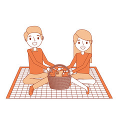 couple parents sitting on blanket picnic and food vector image