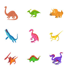Different dinosaur icons set cartoon style vector