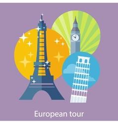 European traveling tour vector