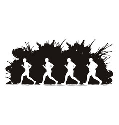 Fat man running step graphic vector