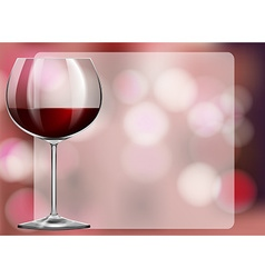 Frame design with red wine in glass vector image vector image