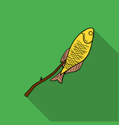 Fried fish icon in flat style isolated on white vector
