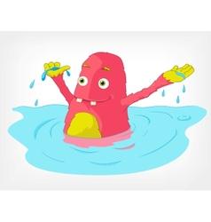 Funny Monster Swimmer vector image