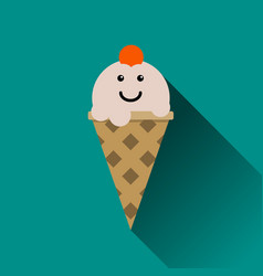 ice cream flat icon isolated on blue vector image