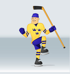 ice hockey team sweden player vector image vector image