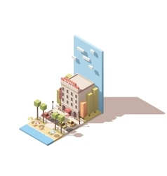 Isometric hotel building vector