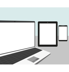 Laptop tablet pc and smartphone vector image vector image