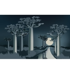 Night in the african baobab forest near the river vector