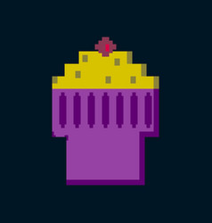 pixel icon in flat style fruit muffin vector image